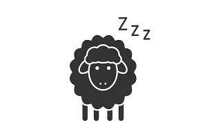 Sheep with zzz symbol glyph icon