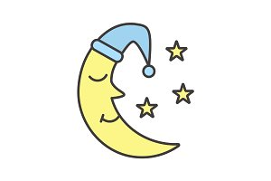 Moon with nightcap and stars color icon