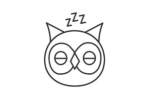 Sleeping owl linear icon