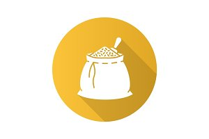 Spices bag flat design long shadow glyph icon