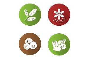 Spices flat design long shadow glyph icons set