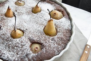 Chocolate pie with pears