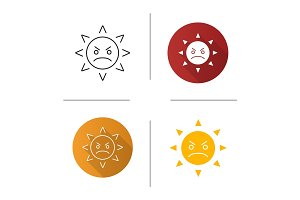 Angry sun smile icon