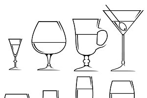 Icons glasses for alcoholic drinks
