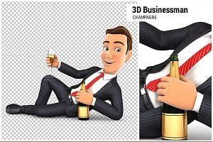 3D Businessman with Champagne
