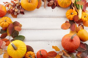 Colorful autumn pumpkins and leaves