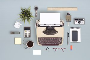 Retro office PSD layer scene creator