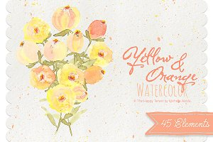 Watercolor Yellow & Orange Clipart