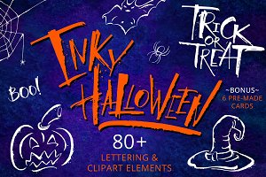Inky Halloween Lettering & Clipart