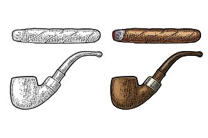 Pipe. Vector vintage engraving color illustration isolated on white