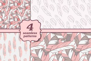 Seamless patterns with feathers