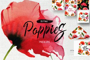 Poppy flowers PNG watercolor set