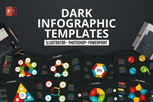 Dark PPT infographics templates