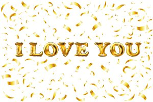 vector Golden I love you sign