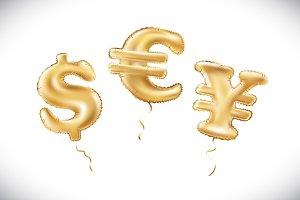 vector Gold dollar euro yen symbol