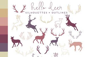 Deer & Antler Silhouettes + Outlines