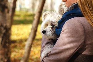 girl hugging little dog