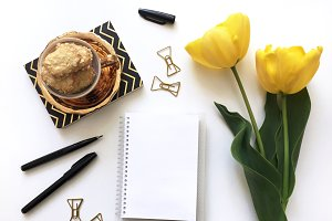 Yellow Tulips w/ Blank Notebook