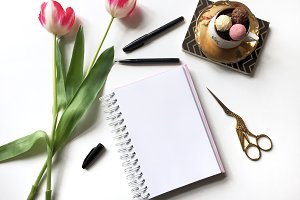 Blank Notebook w/ Tulips Mockup