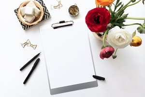 Blank Paper Mockup w/ Buttercups