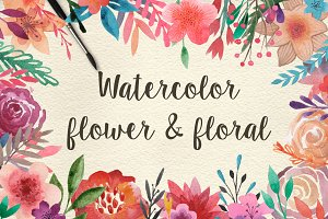 159 Watercolor flowers & florals
