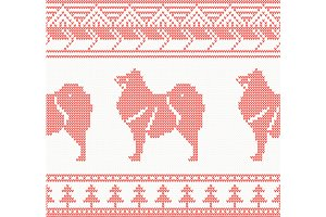 Knitted Dog Seamless Pattern