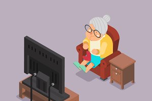 Isometric 3d Old Lady