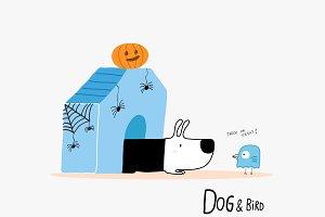 Dog & Bird in Halloween