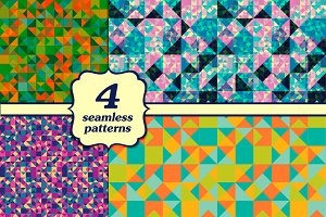 4 seamless triangular patterns