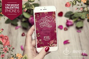 iPhone 6 PSD Mockup Valentine