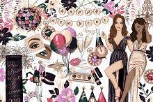 New Years Fashion Girl Clip Art