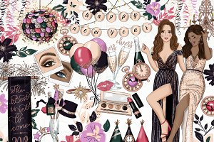 New Years Fashion Girl Clip Art