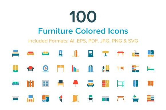 100 Furniture Colored Icons