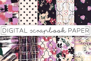 Dark Floral Abstract Digital Papers