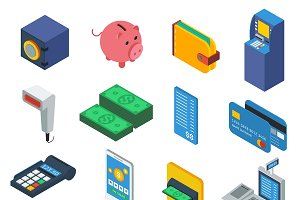 ATM Isometric Icons Set