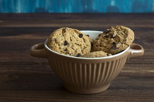 Sweet cookies in bowl, food