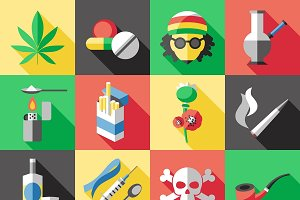 Flat Drugs Icon Set