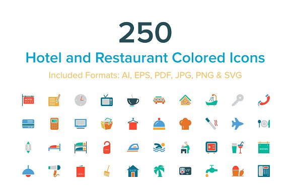 Hotel and Restaurant Colored Icons
