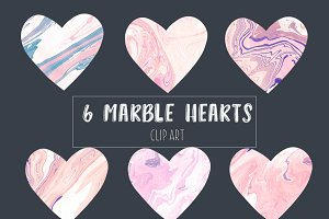 Pink marble hearts