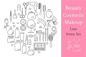 Beauty, Cosmetic Outline Icons Set