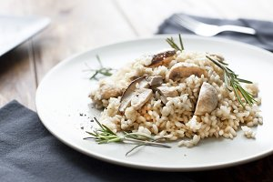 Risotto with mushrooms, herbs and parmesan cheese.