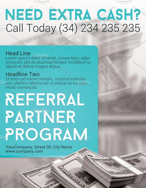 referral partner program flyer flyer templates creative market