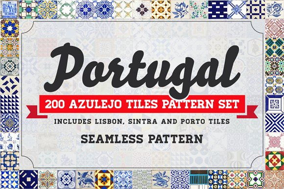 200 Seamless Portugal Azulejo Tiles
