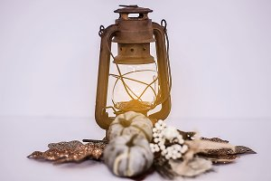 Lighted Autumn Lantern