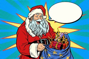 Joyful Santa Claus with bag of Christmas gifts