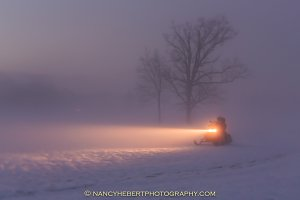 01 Snowmobilers at dusk