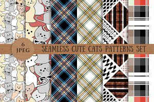 CUTE CATS abstract patterns set