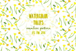 watercolor tulips seamless pattern