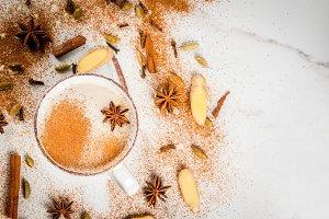 Traditional indian masala chai tea