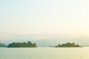 Lake island in the morning.